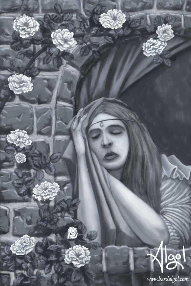 Sweet Dreams by Bard Algol sleeping girl roses castle tower