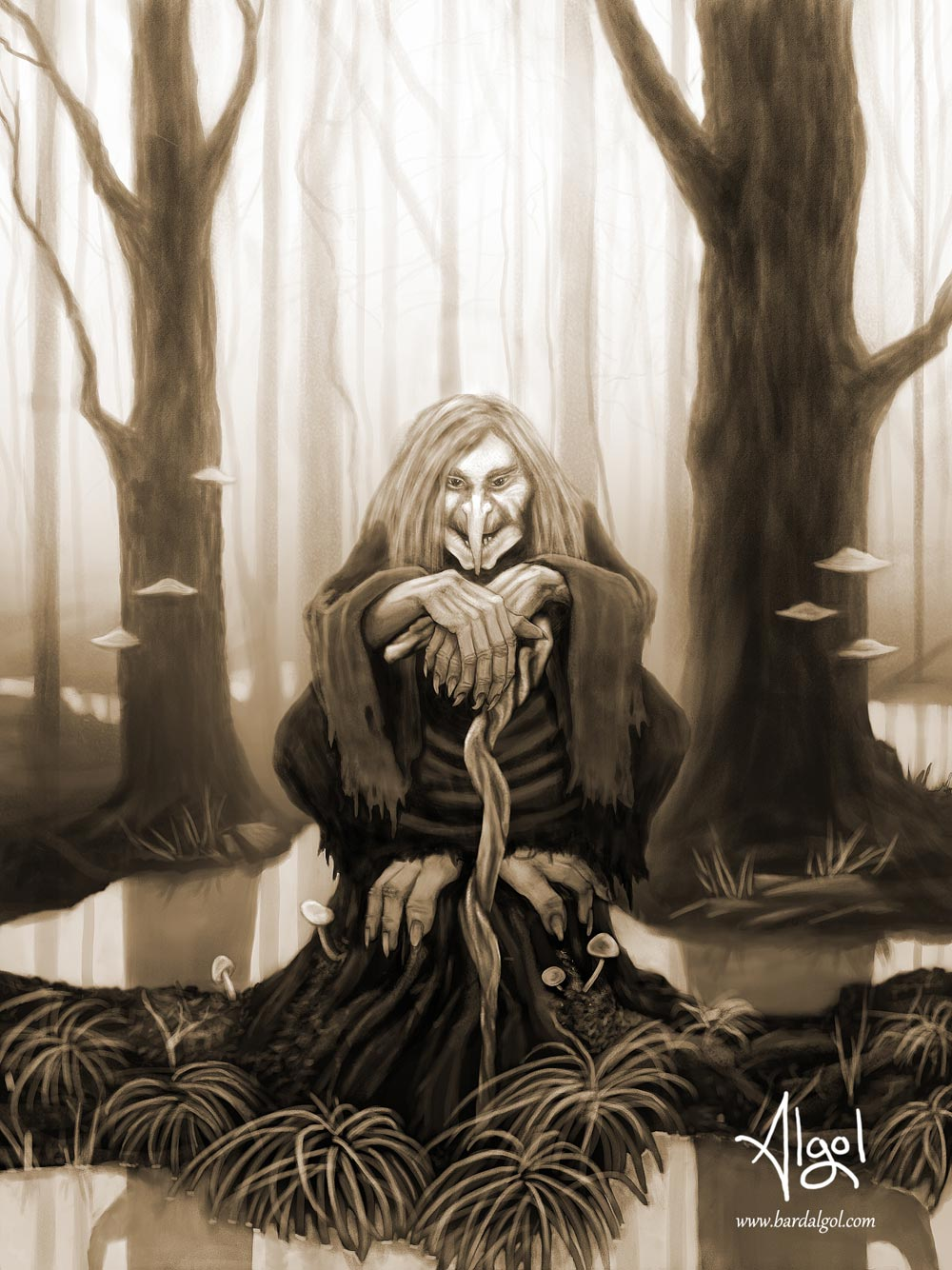 baba yaga by bard algol sepia tone forest swamp witch